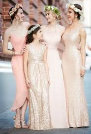 blush junior bridesmaid dress lace flower dress floor length