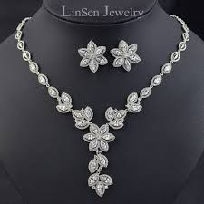 zircon necklace sets images New design luxury beautiful flower wedding bridal jewelry sets jpg