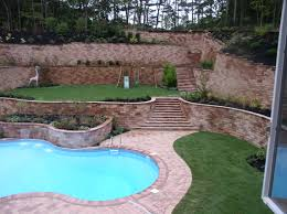 garden astounding front yard landscape house with brick wall gate