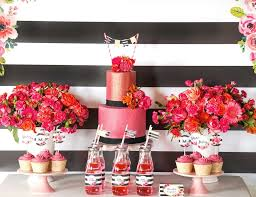 Black And Red Vase Black And White Floral Party Birthday