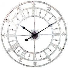 white rustic country style tower clock with fleur de lis