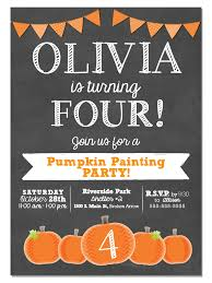 pumpkin chalkboard birthday party invitation