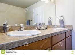 bathroom double sink vanity cabinet close up stock photo image