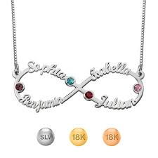necklace with name and birthstone 4 names necklace with birthstones