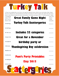 thanksgiving scattergories printable game thanksgiving