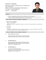 Resume Sample In The Philippines Sample Of Resume For Job Application Philippines Eliolera Com