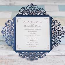 graceful navy blue laser cut wedding invitation ewws030 as low as