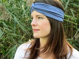 hippie headband blue headband slate blue headband soft stretch turband