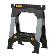 Home Depot Folding Hand Truck by Dewalt 33 In Folding Sawhorse With Adjustable Metal Legs
