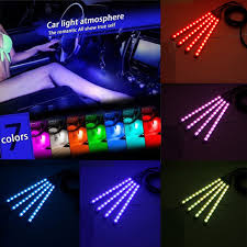 app controlled car lights 4pcs 12 led interior car atmosphere rgb phone app control floor