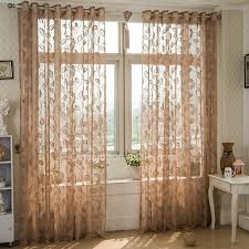 Patterned Sheer Curtains Reddish Brown Lace Curtain Patterned With Leaf Country Style Sheer