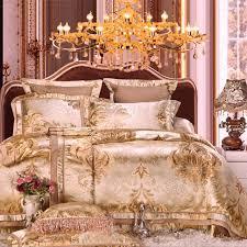 Jacquard Bed Set Luxury Gold Stain Jacquard Bedding Set King Size Wedding