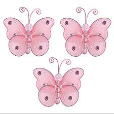amazon com butterfly decor 3 pink mini x small wire hanging