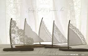 sailboat cake topper five 4 to 5 inch driftwood sailboats antique lace and white linen