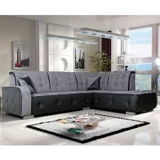 canap angle canapé angle droit en nubuk gris et pvc noir florida dya shopping fr