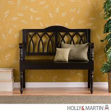 furniture dark brown foyer bench with arm and back for home