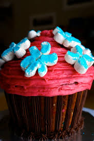 giant filled birthday cupcake