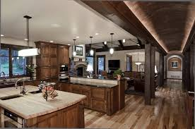 Stained Hickory Cabinets Hickory Wood Floors Kitchen Traditional With Counter Stools Dark