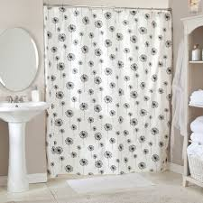 great gray and white shower curtain in white bathroom jpg