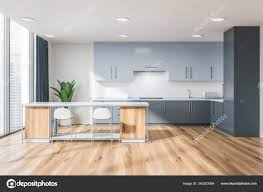 modern white kitchen cabinets wood floor interior of modern kitchen with white walls wooden floor large window gray countertops and cupboards and white and wooden bar with stools 3d