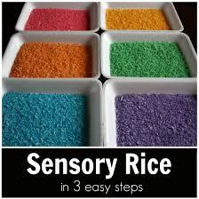 rainbow rice dye rice sensory play 3 easy steps