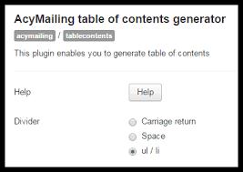 table of contents generator acymailing plugin table of contents generator