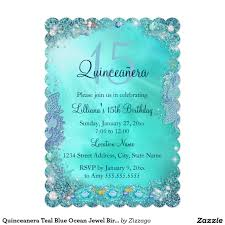 Shop Invitation Card Quinceanera Teal Blue Ocean Jewel Birthday Party 5x7 Paper