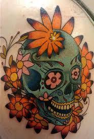 sugar skull and flowers