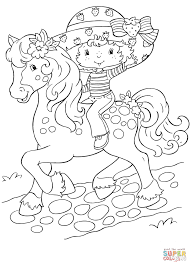 strawberry shortcake rides a horse coloring page free printable