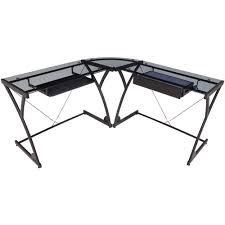 L Shaped Black Glass Desk Hartleys Black Glass Computer Desk With Shelves Co Uk
