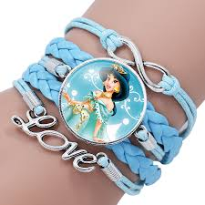 girls leather bracelet images Fashion elsa anna princess portrait glass cabochon infinity jpg