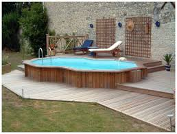 outdoor ideas small above ground pool deck with wooden fence and