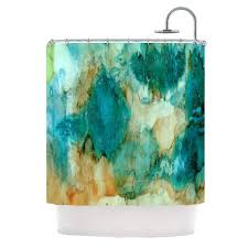 Brown And Teal Shower Curtain by Rosie Brown