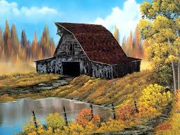 rustic barn style of bob ross painting in oil for sale