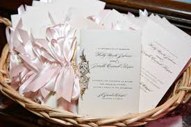 basket for wedding programs invitations more photos ceremony programs with pink ribbons