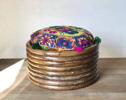 round rattan ottoman etsy