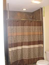 How To Hang Shower Curtain Lovely Hanging Shower Curtain Rod From Ceiling 79 About Remodel