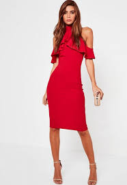 high neck dress high neck frill cold shoulder midi dress missguided