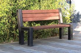 Recycled Plastic Outdoor Furniture Public Bench Garden Contemporary Recycled Plastic Hyde