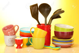 Wooden Kitchen Table Background Bright Empty Bowls Cups And Kitchen Utensils On Wooden Table