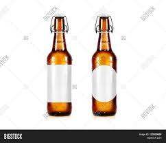 blank beer bottle mockup without label stand isolated clear