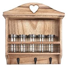 portaspezie legno 2 in 1 scaffale da cucina per barattoli portaspezie ganci per