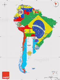 North America South America Map by Flag Map Of South America