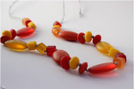 resin beaded necklace images Yellow orange and red resin beaded necklace jpg