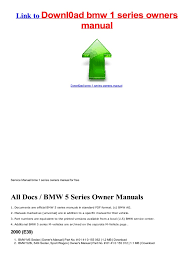 download free version bmw 1 series owners manual service manual