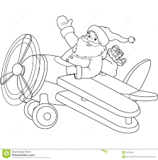 santa on the plane coloring page royalty free stock images image