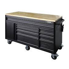 home depot milwaukee tool black friday sale husky 60 125 in 10 drawer mobile workbench textured black matte
