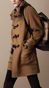 burberry double faced wool duffle coat in natural for men lyst