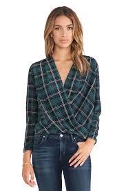amanda uprichard crossover blouse in scotch plaid revolve