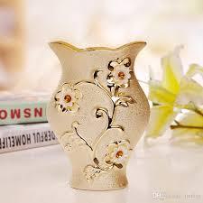 Porcelain Flower Vases Luxury Morden Gold Plated Ceramic Vase Home Decor Creative Design